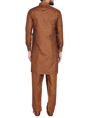 brown cotton pathani set - 15416092 - Standard Image - 3