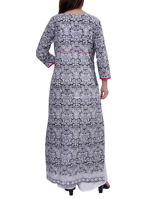 straight printed long kurta - 15416316 - Standard Image - 3