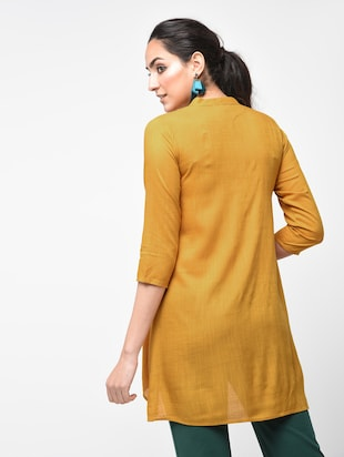 Contrast Piping detail asymmetric tunic - 15416343 - Standard Image - 3