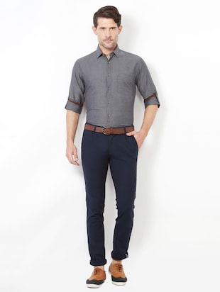 grey cotton casual shirt - 15417063 - Standard Image - 3