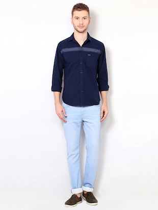 navy blue cotton casual shirt - 15417069 - Standard Image - 3