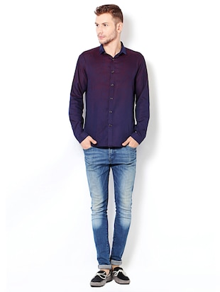 purple cotton casual shirt - 15417071 - Standard Image - 3