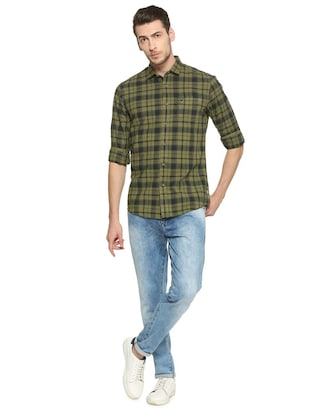 green cotton casual shirt - 15417097 - Standard Image - 3