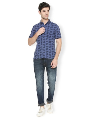 blue cotton all over print t-shirt - 15417224 - Standard Image - 3