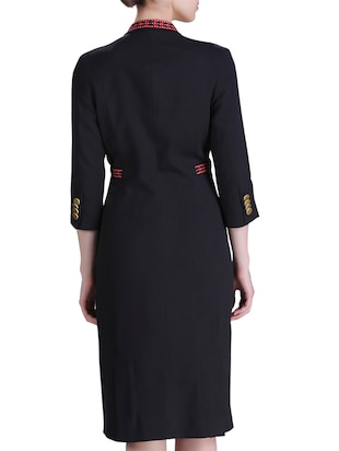 lapel neck coat dress - 15417251 - Standard Image - 3