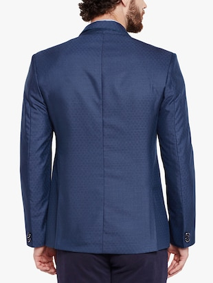blue cotton blend casual blazer - 15417718 - Standard Image - 3
