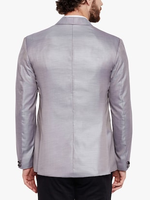 grey cotton blend casual blazer - 15417724 - Standard Image - 3