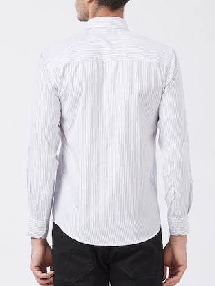 white cotton blend casual shirt - 15418311 - Standard Image - 3