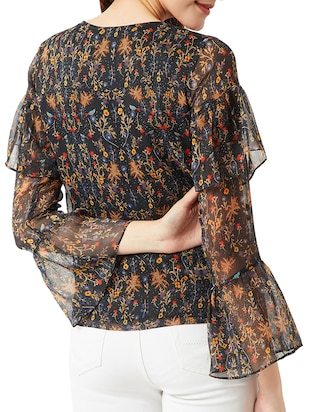 tie-up neck bell sleeved floral top - 15419077 - Standard Image - 3