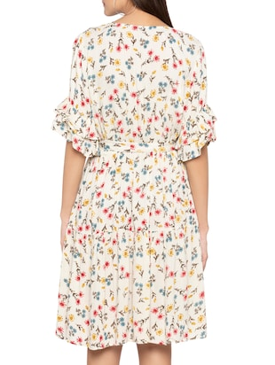 layered sleeve floral belted dress - 15419148 - Standard Image - 3
