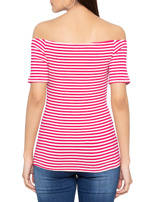 off shoulder striped top - 15419180 - Standard Image - 3