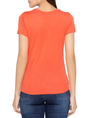 Salamander orange knotted hem top - 15419203 - Standard Image - 3