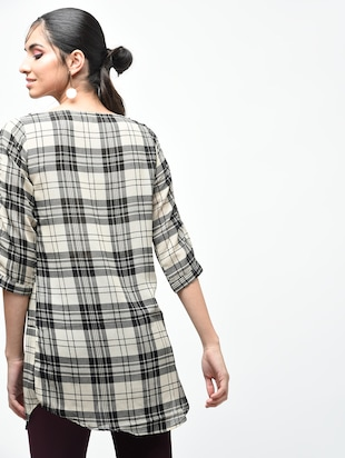 plaid boat neck tunic - 15419513 - Standard Image - 3