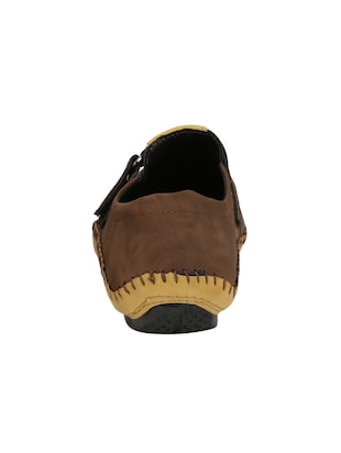 brown leatherette slip on sandals - 15420354 - Standard Image - 3