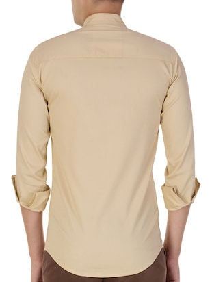 beige cotton casual shirt - 15420407 - Standard Image - 3