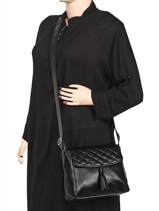 black leatherette (pu) regular sling bag - 15421013 - Standard Image - 6