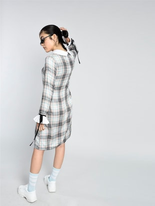 tie-up detail checkered dress - 15426415 - Standard Image - 3