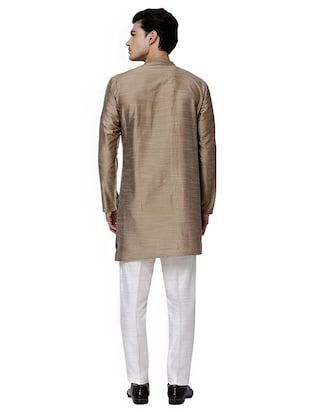 brown cotton blend  asymmetric kurta - 15429955 - Standard Image - 3