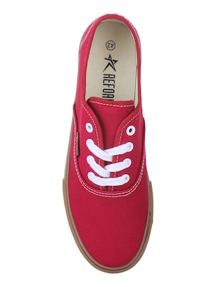 Red Canvas lace up sneakers - 15430034 - Standard Image - 3