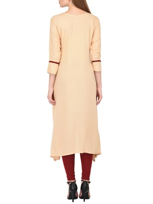Beige high-low kurta - 15430610 - Standard Image - 3