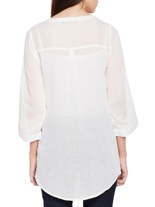 mesh button down embroidered shirt - 15431239 - Standard Image - 3