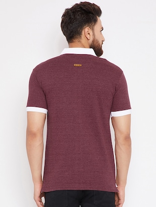 maroon cotton polo t-shirt - 15434117 - Standard Image - 3