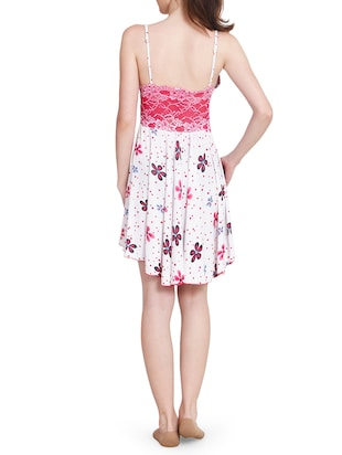 lace detail floral short nighty - 15434591 - Standard Image - 3