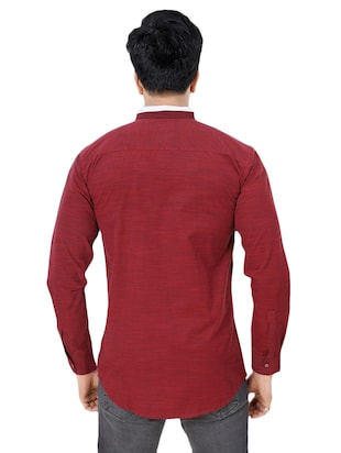 red cotton casual shirt - 15436182 - Standard Image - 3