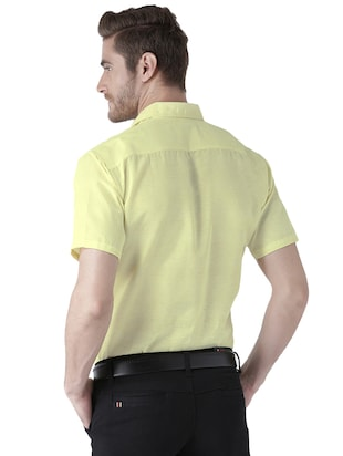 yellow khadi cotton formal shirt - 15436250 - Standard Image - 3