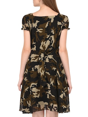 camouflage fit and flare dress - 15436294 - Standard Image - 3