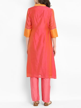Chanderi kurta with pant set - 15438268 - Standard Image - 3