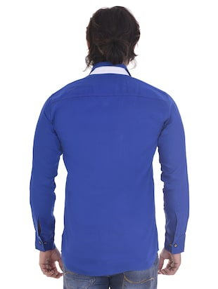blue cotton casual shirt - 15439253 - Standard Image - 3