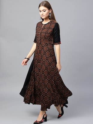 Printed flared ethnic dress - 15440579 - Standard Image - 3