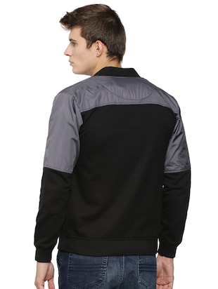 black cotton casual jacket - 15443872 - Standard Image - 3