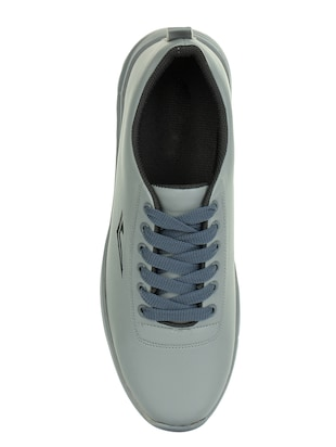 grey leatherette lace up sneakers - 15443934 - Standard Image - 3