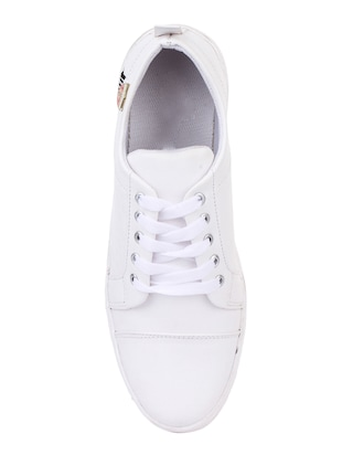white leatherette lace up sneakers - 15443939 - Standard Image - 3