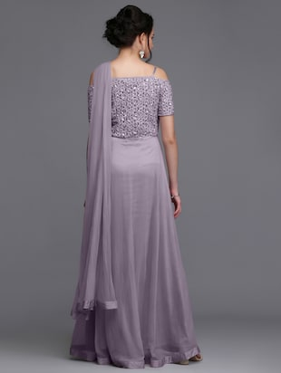 Embroidered flared gown - 15445045 - Standard Image - 3
