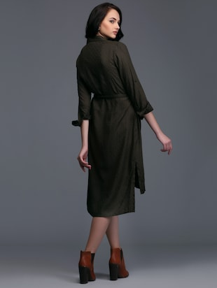 button down high-low belted dress - 15445178 - Standard Image - 3