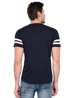 navy blue cotton chest print tshirt - 15446608 - Standard Image - 3