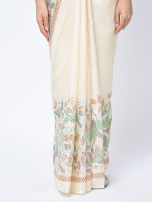 kalamkari printed beige saree with blouse - 15447757 - Standard Image - 3