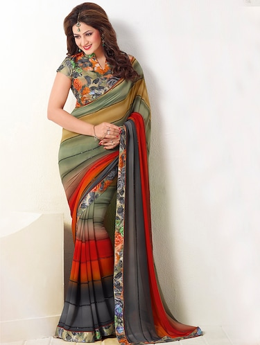 Stripes printed saree with blouse - 15454710 - Standard Image - 1