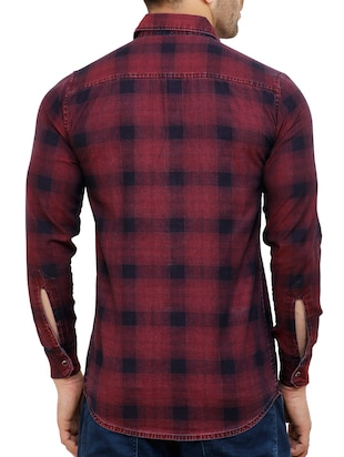 red cotton reversible casual shirt - 15455469 - Standard Image - 3