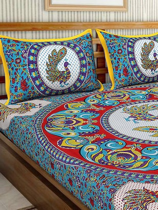 Cotton Traditional Printed Double Bedsheet With 2 Pillow Covers - 15460168 - Standard Image - 3
