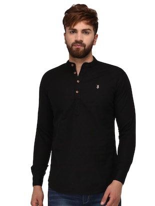 black cotton short kurta - 15468710 - Standard Image - 3
