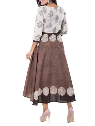 flared printed ethnic dress - 15469638 - Standard Image - 3