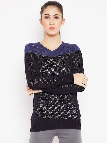 pointelle knit color block pullover - 15476447 - Standard Image - 1