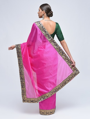contrast jacquard border saree with blouse - 15482350 - Standard Image - 3