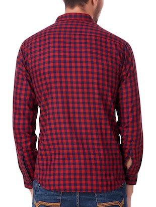 red cotton casual shirt - 15482956 - Standard Image - 3