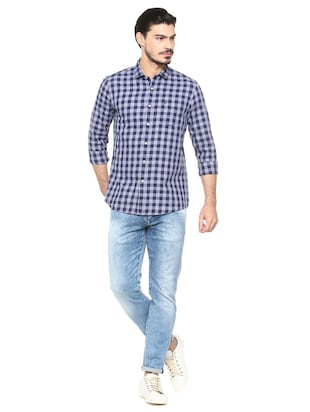 blue cotton casual shirt - 15493491 - Standard Image - 3