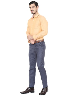 orange cotton blend formal shirt - 15493499 - Standard Image - 3